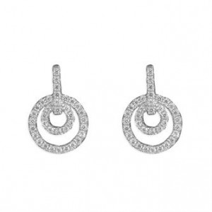 Sterling Silver Micro-Set Cubic Zirconia Concentric Circles Drop Earrings