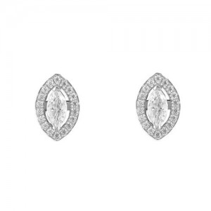 Sterling Silver Cubic Zirconia Marquis Halo Stud Earrings