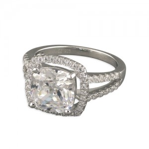 Sterling Silver Large Square Cubic Zirconia Halo with Pave Shoulders Ring
