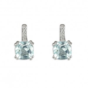 Sterling Silver Square Blue Topaz with Cubic Zirconia Loop Stud Earrings