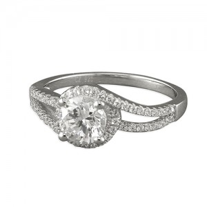R9150/C Sterling Silver Round Cubic Zirconia Halo with Micro-Set Shoulder Ring