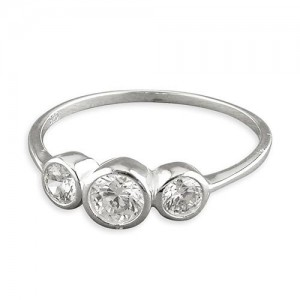 Sterling Silver Triple Cubic Zirconia Bezel Set Ring