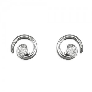Sterling Silver Cubic Zirconia Spiral Earrings
