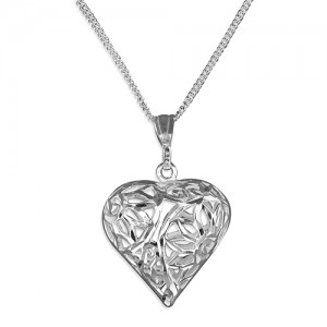 "Sterling Silver Diamond Cut Open Puffed Heart Pendant & 18"" Chain"
