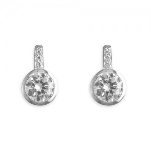 Sterling Silver Rub-Over Cubic Zirconia Stem Stud Earrings