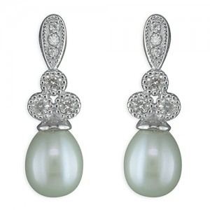 Sterling Silver Freshwater Pearl Cubic Zirconia Drop Stud Earrings