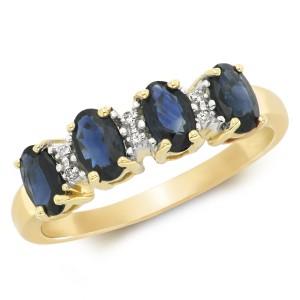 9ct Oval Sapphire & Diamond Ring