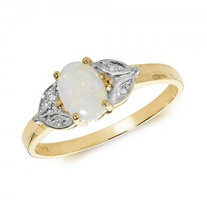 9ct Oval Opal & Diamond Shoulders Ring