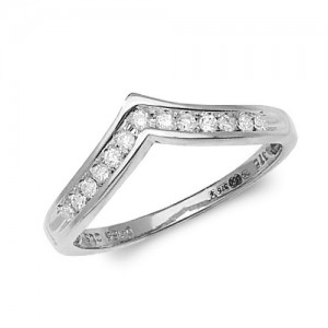 9ct White Gold Diamond Channel Set Wishbone Ring