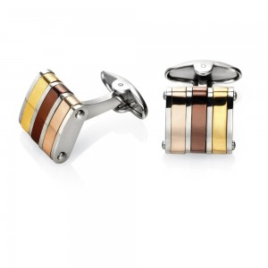 Fred Bennett Men's Stainless Steel Three Colour Stripe Cufflinks
