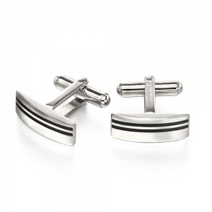 Fred Bennett Men's Stainless Steel Black Enamel Lines Cufflinks