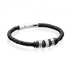 Fred Bennett Men's Stainless Steel Leather Bracelet