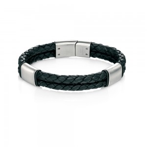 Fred Bennett Men's Stainless Steel Black Leather Bracelet
