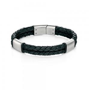 Fred Bennett Men's Stainless Steel Black Leather Bracelet