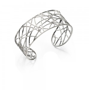 Sterling Silver Open Work Stone Set Bangle