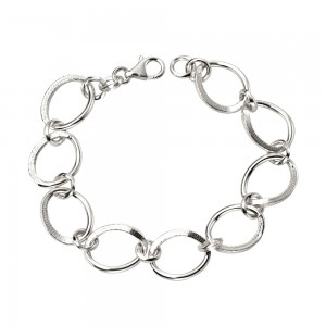 Sterling Silver Open Oval Links Bracelet