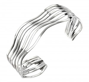 Sterling Silver Open Multi Wave Bangle