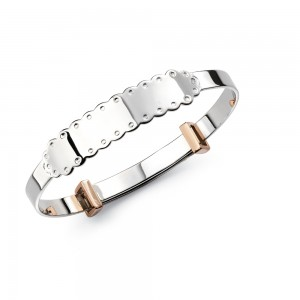 D for Diamond Silver Bangle