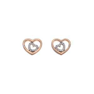 Hot Diamonds Sterling Silver Rose Plate Adorable Double Open Heart Stud Earrings