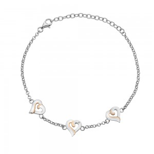 Hot Diamonds Together Heart Stud Bracelet with Rose Gold Plated Accents