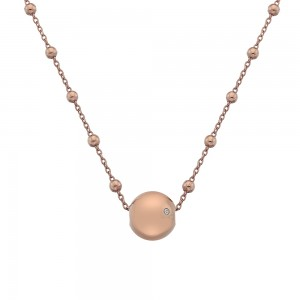 Hot Diamonds Globe Rose Gold Plated Necklace