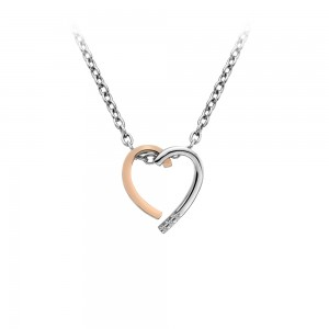 Hot Diamonds Glide Heart Pendant - Rose Gold Plated Accents