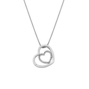 Hot Diamonds Sterling Silver 'Adorable' White Topaz Double Open Heart Pendant