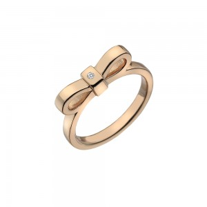 Hot Diamonds Rose Gold Plate Ribbon Ring