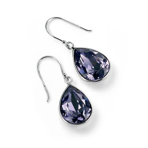 Sterling Silver Purple Swarovski Crystal Drop Earrings