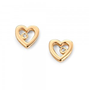 D for Diamond Silver Gold Plated Heart Stud Earrings