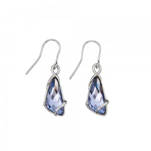 Sterling Silver Lavender Swarovski Crystal Wing Shape Hook Drop Earrings
