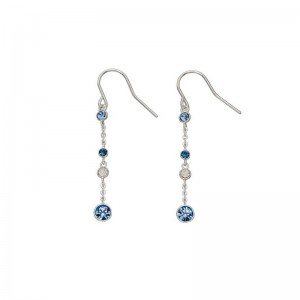 Sterling Silver Blue and Opal Swarovski Crystal  Hook Drop Earrings