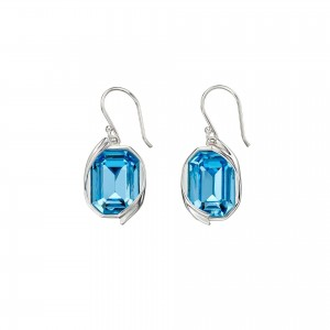 Sterling Silver Aqua Blue Swarovski Crystal Hook Drop Earrings