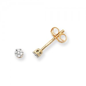 9ct Gold Diamond Cluster Illusion Set Stud Earrings