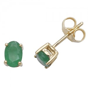 9ct Oval Emerald Stud Earrings