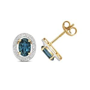 9ct Gold London Blue Topaz and Diamond Halo Stud Earrings
