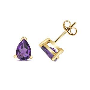 9ct Gold Amethyst Teardrop Stud Earrings