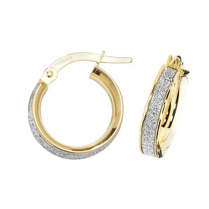 9ct Gold Sparkle 10mm Hoop Earrings