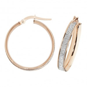 9ct Rose Gold Sparkle 20mm Hoop Earrings
