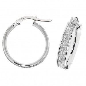 9ct White Gold Sparkle 15mm Hoop Earrings