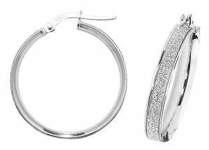 9ct White Gold Sparkle 20mm Hoop Earrings