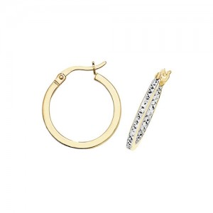 9ct Yellow/White Gold DC 15mm Hoop Earrings