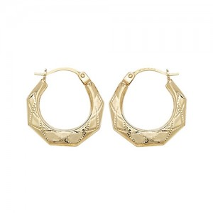 9ct Gold 10mm Patterened Creole Hoop Earrings