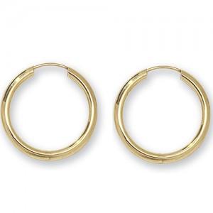 9ct Gold Earrings 20mm Sleeper Earrings