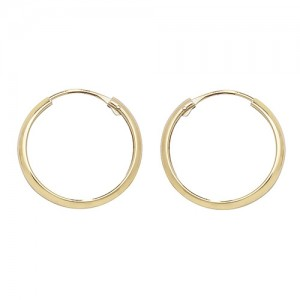 9ct Gold 14mm Sleeper Hoop Earrings