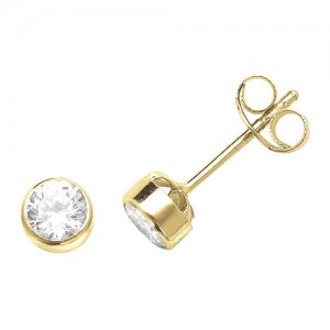 9ct Yellow Gold Round Cubic Zirconia Stud Earrings