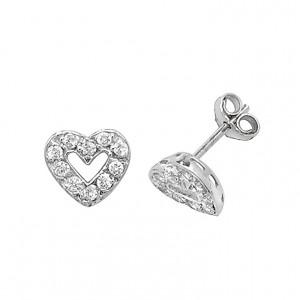 9ct White Gold Cubic Zirconia Open Heart Stud Earrings