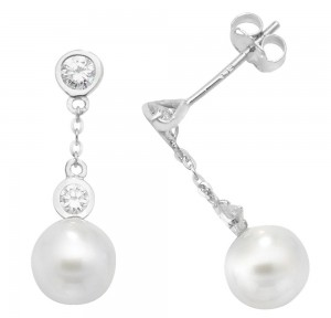 9ct White Gold Cubic Zirconia Pearl Drop Stud Earrings