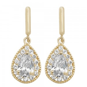 9ct Gold Cubic Zirconia Teardrop Stud Earrings