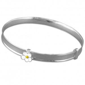 Sterling Silver Enamel Daisy Expanding Bangle